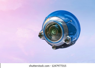 Robot spy bot blue drone with cameras, flying, photographing, filming. Future technology, spy, military, artificial intelligence concept. Object clipping path included. 3D illustration.