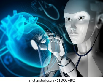 Robot study holographic heart in futuristic medical laboratory. 3d illustration. Science concept.