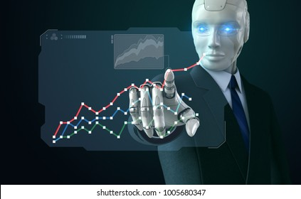 Robot in suit touching a chart on screen. 3D illustration