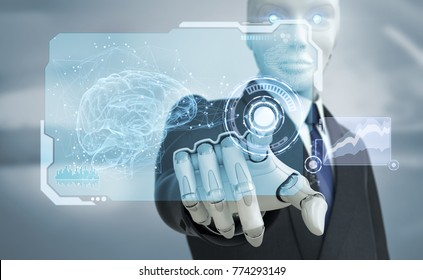 Robot in suit working with high tech touchscreen.3D illustration