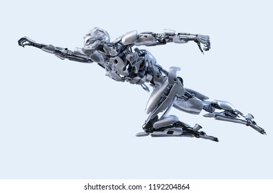 Robot superhero flying. Android, humanoid or cyborg power artificial intelligence technology concept. Clipping path included. 3D illustration.