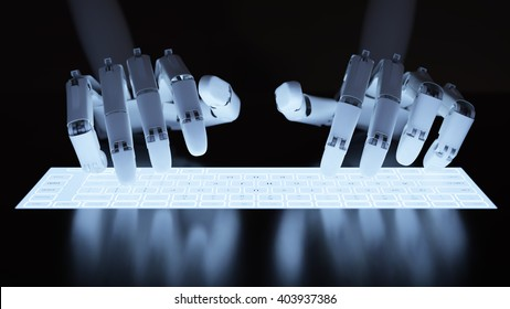 Robot typing on conceptual self-illuminated keyboard 3D illustration