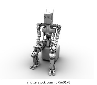 The robot under is charged sitting on a cube
