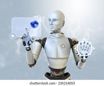 Robot using a futuristic interface.