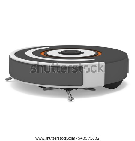 Robot Vacuum Cleaner 3 D Render Isolated Stock Illustration