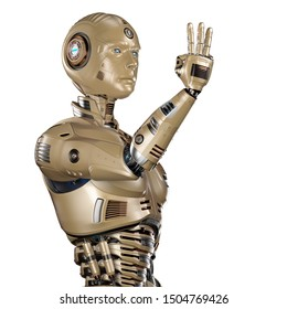 robot or very detailed humanoid cyborg showing three fingers. Upper body. Isolated on white backgound. 3d render