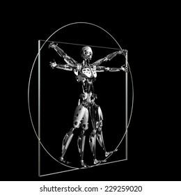 Robot - Vitruvian: A futuristic male humanoid robot in a Leonardo da Vinci Vitruvian style pose.  45 degree angle. Isolated on a black background