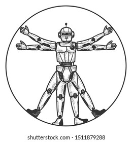 Robot Vitruvian Man sketch engraving raster illustration. Tee shirt apparel print design. Scratch board style imitation. Black and white hand drawn image.