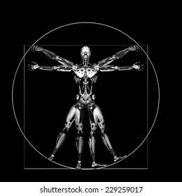 Robot - Vitruvian - Silver: A futuristic male humanoid robot in a Leonardo da Vinci Vitruvian style pose.  Isolated on a black background