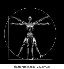 Robot - Vitruvian - Worn: A futuristic male humanoid robot in a Leonardo da Vinci Vitruvian style pose.  Isolated on a black background