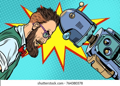 Robot vs human, humanity and technology. Pop art retro  vintage illustrations
