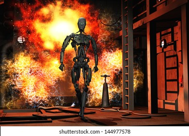 Robot walking from explosion in science fiction complex