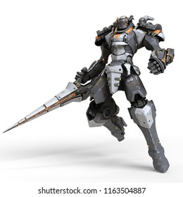 Robot warrior with a large lance in one hand. A science-fiction mech in a jumping pose. Futuristic robot with white and gray color metal. Mech Battle. Orange paint. 3D rendering on a white background.