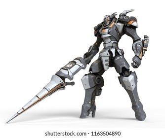 Robot warrior with a large lance in one hand. A science-fiction mech in a standing pose. Futuristic robot with white and gray color metal. Mech Battle. Orange paint. 3D rendering on a white background