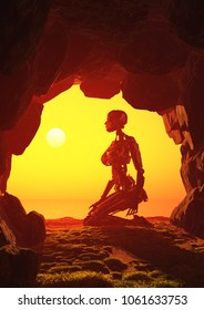 Robot woman in the cave,3d render