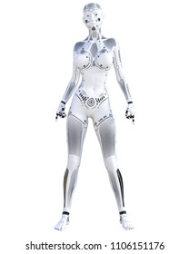 Robot woman fighting action. Metal droid. Artificial Intelligence. Conceptual fashion art. Realistic 3D render illustration. Studio, isolate, high key.