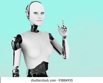 A robot woman holding her hand up with her index finger extended, like she is having an idea.