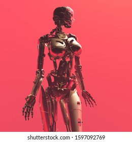 Robot woman on a red background.,3d render