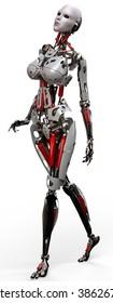 robot woman walking