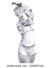 Robot woman. White metal droid. Android girl. Artificial Intelligence. Conceptual fashion art. Realistic 3D render illustration. Studio, isolate, high key.