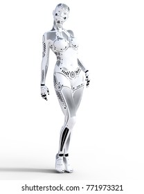 Robot woman. White metal droid. Artificial Intelligence.  Realistic 3D render illustration.