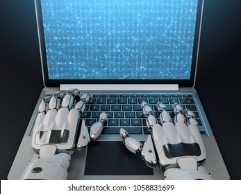 Robot writing a programming code on laptop. 3d illustration. Front view.