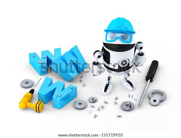 Robot with WWW sign. Website building or repair concept. Isolated on white background