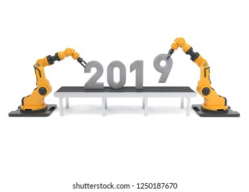 Robotic arm with 2019 new year number. 3D illustration