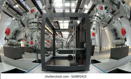Robotic Arm Assembling 3d Printer On Conveyor Belt 3d illustration