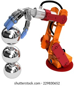 Robotic arm building growth in technology business as ball bearings stack