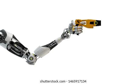 Robotic arm holding futuristic taser gun, 3d rendering
