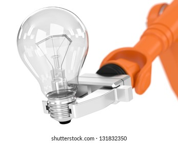 Robotic arm holding light bulb. Image concept and part of a series.