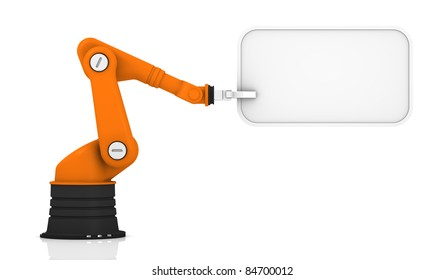 Robotic arm holding white tag