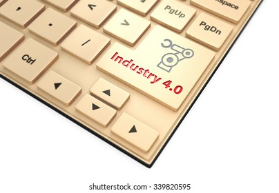 Robotic arm icon and word industry 4.0 on keyboard. Concept for industry 4.0