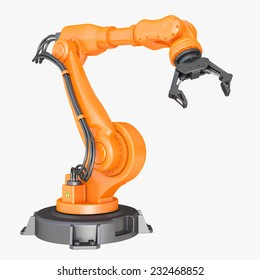 Robotic Arm isolated on white background. Clipping path included