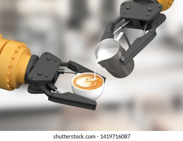 Robotic arm make latte art. 3D illustration