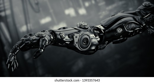 Robotic arm on sci-fi background, 3d rendering
