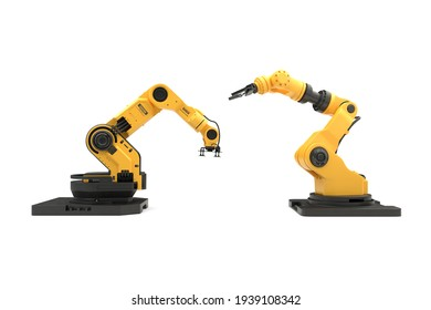 The robotic arm on white background with clipping path. 3D illustration