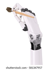 Robotic Arm Painting with Brush Closeup Isolated on White View From Above 3d illustration