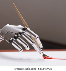 Robotic Arm Painting with Brush Closeup. Artificial Intelligence Creativity Concept 3d illustration