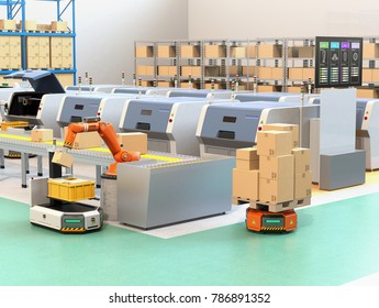 Robotic arm picking parcel from conveyor to AGV (Automatic guided vehicle). From the monitor of 3D printers' lines could check the process of printing state. 3D rendering image.