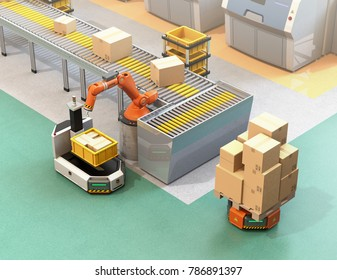 Robotic arm picking parcel from conveyor to AGV (Automatic guided vehicle). 3D rendering image.