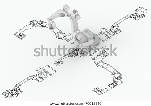 Robotic Arm Plan 3d Model On Stock Illustration 70012360