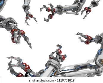 Robotic arm with three fingers, many surrounding, 3d illustration, horizontal, over white, isolated