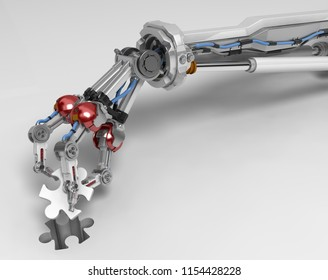 Robotic arm with three fingers, taking puzzle piece out, 3d illustration, horizontal, over white