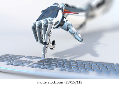 robotic arm working with computer keyboard closeup image