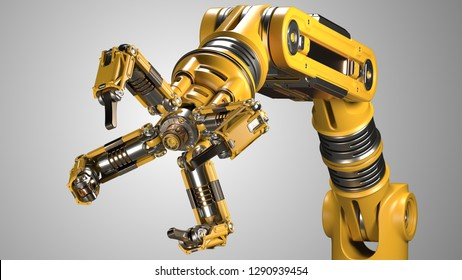 Robotic arm. Yellow mechanical hand. Industrial robot manipulator. Futuristic industrial technology. Isolated on grey background. 3D illustration