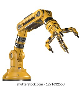 Robotic arm. Yellow mechanical hand. Industrial robot manipulator. Futuristic industrial technology. Isolated on white background. 3D Render