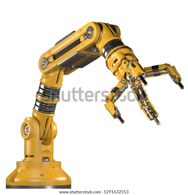Robotic Arm Yellow Mechanical Hand Industrial Stock Illustration