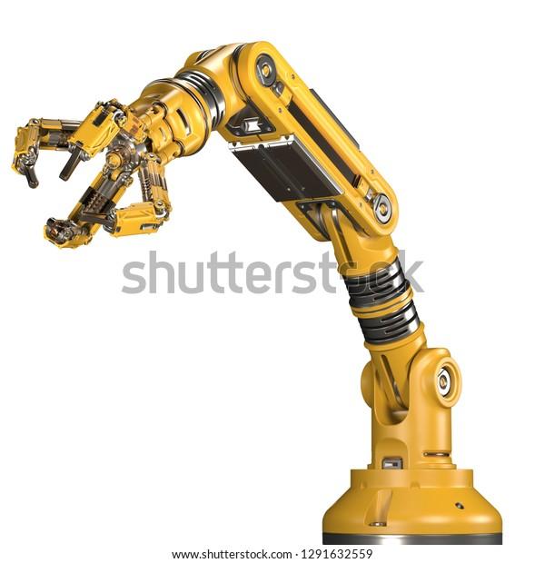 Robotic Arm Yellow Mechanical Hand Industrial Stock Illustration